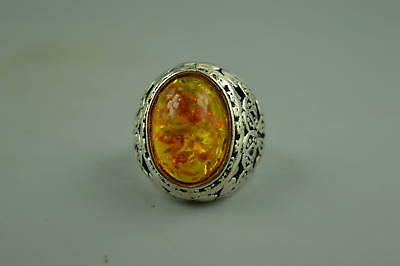 Collectible Chinese tibet silver CARVE Flower Inaly Amber Resin Woman Ring Gift