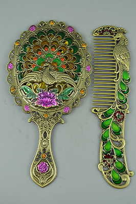 Collectible Chinese Copper Cloisonne Phoenix Flower Set Hand mirror comb Gift