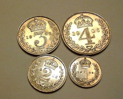 1906 King Edward VII Great Britain 4 Coin Silver Maundy Money Set