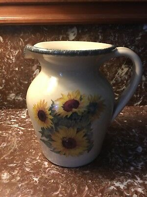 Home & Garden Party Stoneware Sunflower Pitcher 48oz/Mint Condition/USAmade