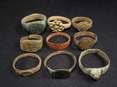 LOT of 9 pcs. ANCIENT ROMAN, BYZANTINE AND MEDIEVAL FINGER RINGS+++