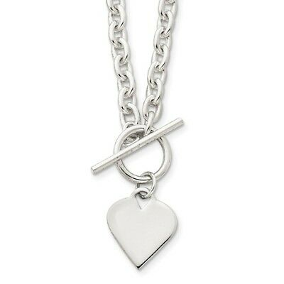 Sterling Silver 18in Engravable Heart Toggle Necklace