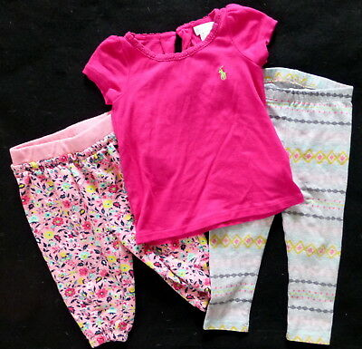 Girls Pink Shirt 2 Pair of Pants Lot Baby Clothes Size 12-18 Months