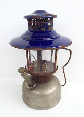 AMERICAN GAS MACHINE Lantern AGM Cobalt Blue Coleman Pyrex Globe Sold As Found