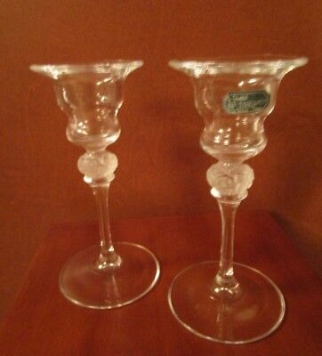 Pair Of J. G. Durand Crystal Candle Sticks Frosted Floral Centres  France