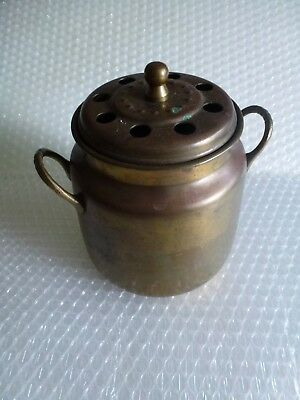 aSH CAN FIREPLACE WOOD BURNING STOVE BRASS RUSTIC PRIMITIVE HEARTH VTG neocurio