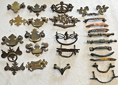 Antique lot of 26 drawer pulls
