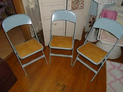 3 Vintage Chairs Metal & Wood Folding Shabby CHIC
