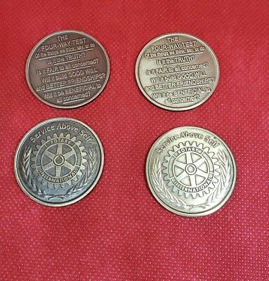 Rotary Club Token Service Above Self Rotary Four Way Test Lot of 4 Coins BIN#Z1