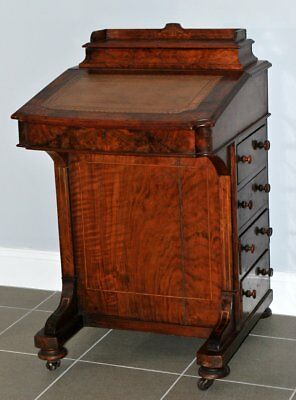 Antique Davenport Victorian Burr Walnut 1860's captain desk with leather inlay
