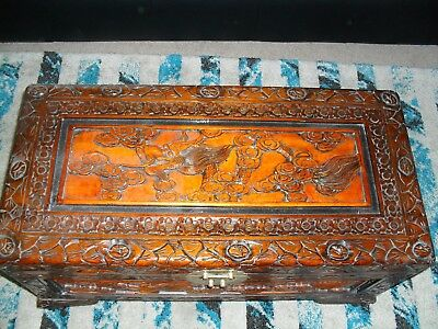 Camphorwood Chest With Delightful Scent. Carvings And Two Tone. Ex Cond