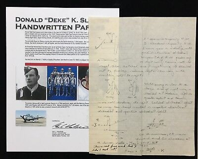 "Donald ""deke"" Slayton /  Mercury 7 Handwritten Paper & Great Instructor Note (D)"