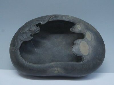 Chinese Exquisite Hand-carved bat carving Duan Inkstone (端硯)