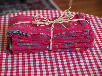 VTG Set/6 Heavy Cotton Red Dinner Napkins w/gold threads accents x Xmas Pre Own