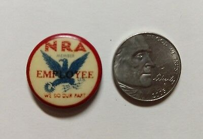 """""""NRA Employee"""" WWII Pinback Pin """"We Do Our Part"""" U.S. NRA Eagle Pin"""