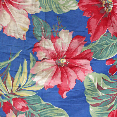 Vintage Barkcloth Era Fabric Slipcover Chair Cover Blue Pink Red Tropical Floral