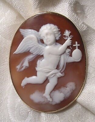 Beautiful Antique Shell Cameo Pin in gold setting~Cherub with orb, cross & lilly