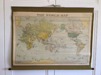 Vintage Canvas World Map 1964