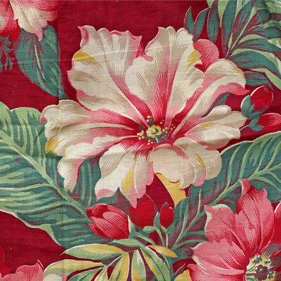 3 Vintage Barkcloth Era Fabric Cushion Pillow Cover Red Pink Tropical Floral