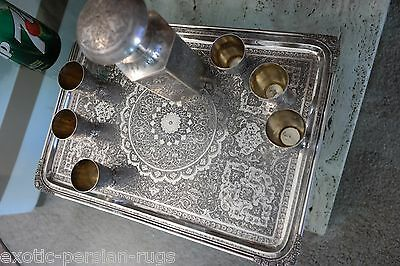 Exceptional Antique Signed Persian Isfahan Solid Silver Drink Set