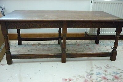 Large Vintage Wooden Coffee Table Carved Side Detail 115cm x 55cm