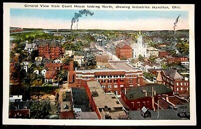 HAMILTON, OH, Downtown Birds Eye View, Church, Residential, Factory, Ohio