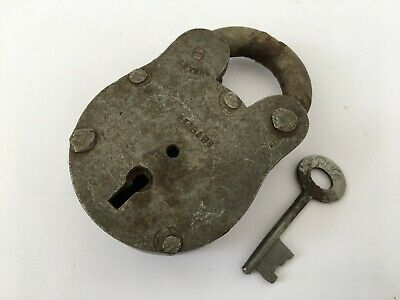 1930's Old Iron Lock and Key Vintage Rare Collectible 6 levers Aligarh
