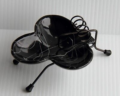 California Art Pottery, Black Drizzled Ashtray and Wire Stand