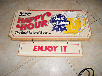 Pabst Blue Ribbon Beer Wood Sign Happy Hour  Old Stock PBR Bar Pub