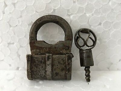Old Iron Padlock Unique Shape Fitted Engraved Handcrafted Screw Padlock