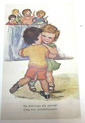 VINTAGE  POSTCARD BY KRUGH Dancing Couple, Foreign publisher, unposted