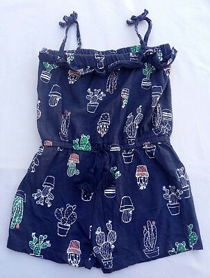 H&T Girls One Piece Jumpsuit Size 4 Blue Cactus Pattern Shorts Tassels Soft