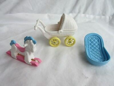 FISHER PRICE Loving Family Dream Dollhouse Baby Carriage Rocking Horse and Bath