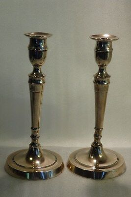 RARE PAIR of SEAMED GEORGE III ENGLISH 18th CENT. BELL METAL CANDLESTICKS C.1785
