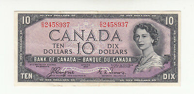 "Canada 10 dollars 1954 circ. p69a QEII ""devils hair"" @ low start"