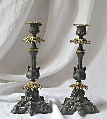Pair of antique French ornate brass and regule candle stick holders, circa 1900