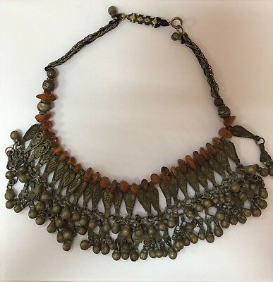 Antique OLD Ethnic Bedouin   Heavy Hand Made Amber And Silver Necklace 100g R