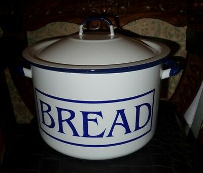 Enamel bread bin.  Round and Large white with blue writing. Very Heavy.
