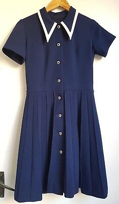 Swinging 60s cute vintage navy and white dress size 8-10