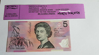 $5.00 Australian 2012 Decimal Notes first and last prefix Unciculated