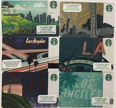 Lot 6 Starbucks LOS ANGELES 2011 2012 2014 2015 2016 2017 gift card Set NEW!