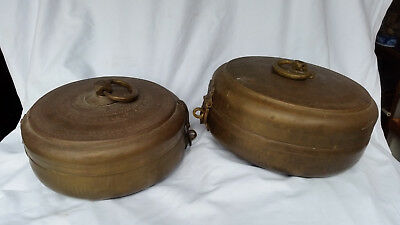 Vintage/antique brass hinge & latch canisters