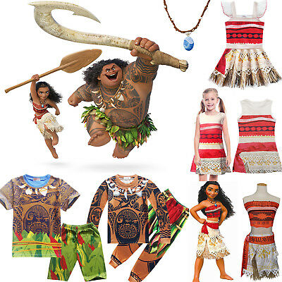 Kids Moana Maui Cosplay Costume Boys Girl Princess Dress Outfits Set Fancy Dress