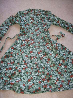 vintage retro 70s 60s green brown mod scooter skater dress floral 10 12