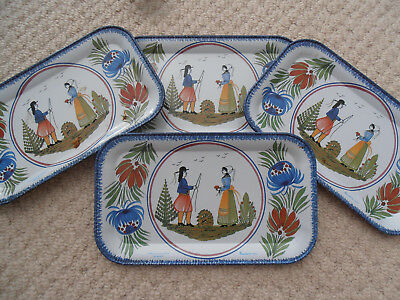 Set of 4 Vintage Faienceries De Quimper Metal Trays / Coasters : Massilly France