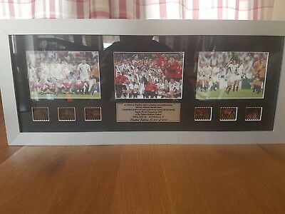 Framed Limited Edition England Rugby World Cup Winning Slides