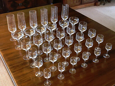Orefors Complete Set Original Rhapsody Hand Crafted Crystal Glasses Perfect Cond