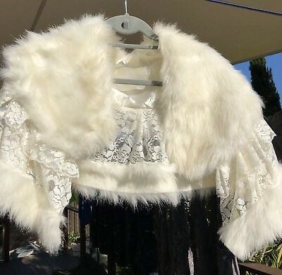 Little Girl's Fur and Lace Cape Wedding Formal Shrug Wrap