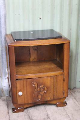 A Classical French Art Deco Marble Top Oak Cupboard - Bedside Table