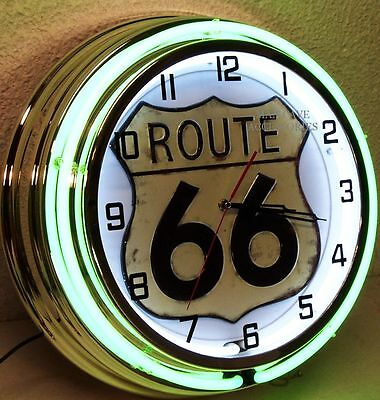 """18"""" Route 66 Sign Double Neon Clock Drive America Mother Road"""